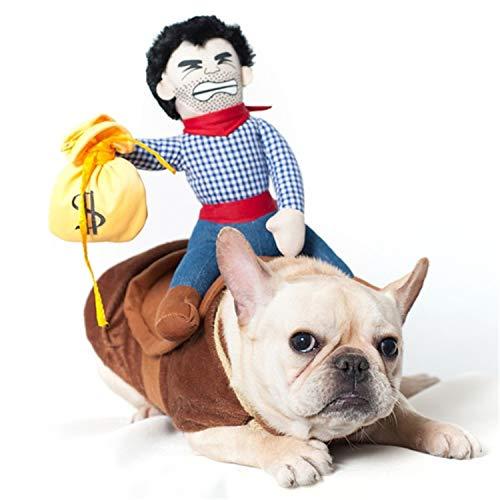 BIGBOBA lustige Kostüme für Hund Katze Cowboy Kleidung für Hunde mit Puppen, - Katze Cowboy Kostüm