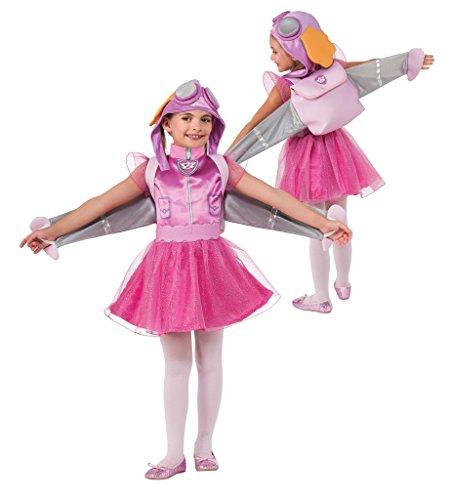 Costume aviatrice skye- paw patrol 2 anni travestimento cagnolina carnevale halloween cosplay con licenza ufficiale abito copricapo zaino uniforme da cane paw patrol 2 anni