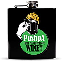 "Aswhole Ideas Funny""Pushpa I Hate Tears But I Love Wine"" 7Oz/208ml Black Stainless Steel Hip Flask"