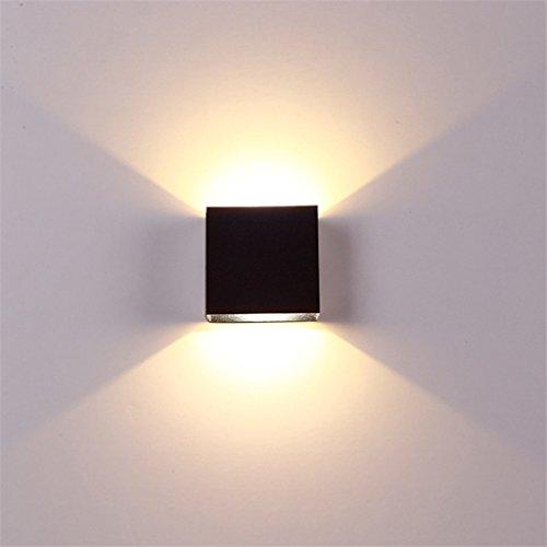 Wandlampe LED-Wandleuchten Aluminium Wandleuchte Rail Project Square 6W Wandleuchten Nachttisch Schlafzimmer Wandlampen Kunst (Farbe : Schwarz-Warmes weißes Licht)