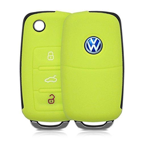 kwmobile Custodia in silicone per VW Skoda Seat 3-Pulsante Chiavi della Macchina chiavi cover protettiva astuccio chiavi case in verde chiaro
