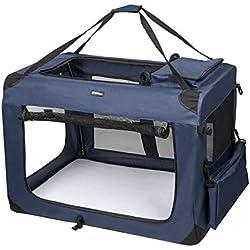 LEMAIJIAJU Caisse de Transport Chat Sac de Transport Pliable Cage de Transport pour Chien et Chat Animal Tissu Oxford Bleu Foncé - XXL 91cmx63cmx63cm