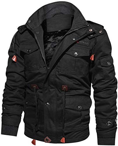 TACVASEN Militär Jacken Herren Winter Lange Jacke Cargo Baumwolljacke Taktische Jacke Fleece Cotton Jacket Men Long Hoodie Jacke Casual Vintage Jacke Multi Pocket Jacket Black Schwarz