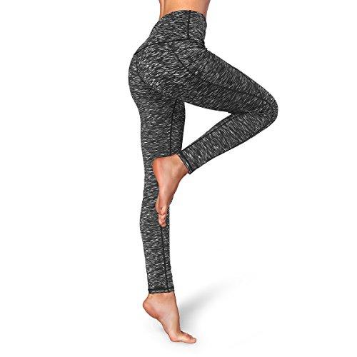 Occffy Hohe Taille Sport Leggings Damen Fitnesshose Yoga Leggings Sporthose Tummy Control mit Handytasche (XX-Large, Meliert Schwarz)