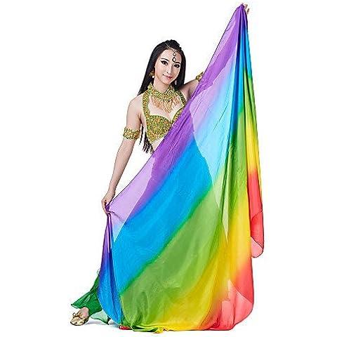ZY Colorful Rendimiento mezcla de colores Danza del Vientre Velo de seda para mujer, multicolor