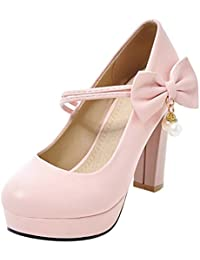 COOLCEPT Mujer Basico sin Cordones Boca Baja Zapatos Comodo Tacon Ancho Oficina Traje Bombas Zapatos (34 EU, Black)
