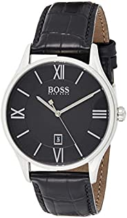 Hugo Boss BLACK MEN'S BLACK DIAL BLACK LEATHER WATCH - 151