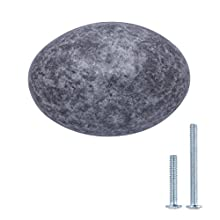 AmazonBasics - Schubladenknopf, Möbelgriff, oval, Durchmesser: 3,59 cm, Antik-Silber, 10er-Pack