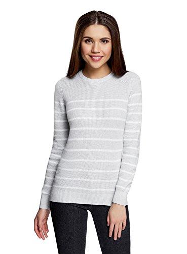 oodji Ultra Damen Baumwoll-Pullover Gestreift, Grau, DE 42 / EU 44 / XL (Pullover Jersey)