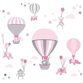anna wand Wandsticker HOT AIR BALLOONS ROSA/GRAU - Wandtattoo für Kinderzimmer/Babyzimmer mit Tieren in Heißluftballons - Wandaufkleber Schlafzimmer Mädchen & Junge, Wanddeko Baby/Kinder