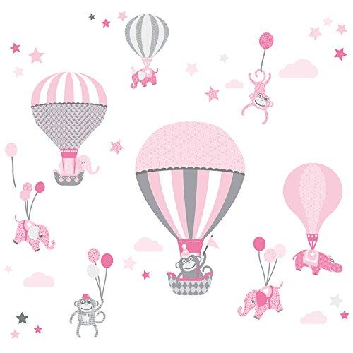 anna wand Wandsticker HOT AIR BALLOONS ROSA/GRAU - Wandtattoo für Kinderzimmer / Babyzimmer mit Tieren in Heißluftballons versch. Farben - Wandaufkleber Schlafzimmer Mädchen & Junge, Wanddeko Baby / Kinder (Mädchen Schlafzimmer Ideen)