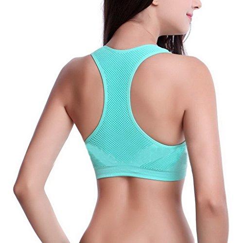 ACME - Femme Sexy Soutien Gorge Rembourré de Sport Push up Brassière Yoga Course Resille Respirant Vert