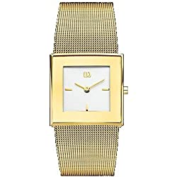 Danish Design Women's 27mm Gold-Tone Steel Bracelet & Case Quartz White Dial Analog Watch IV05Q973