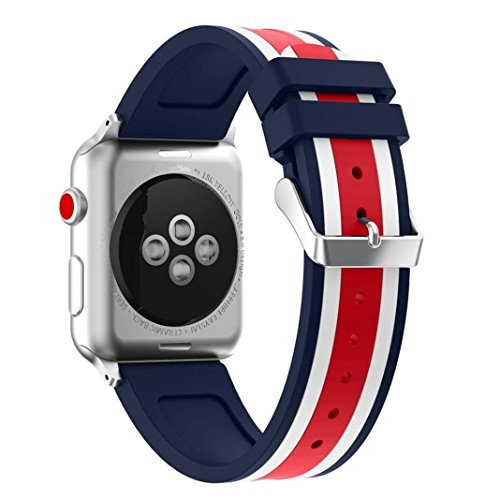 Price comparison product image For Apple Watch Straps 38mm AISPORTS iWatch Strap 38mm Silicone Smart Watch Band Replacement Strap with Stainless Steel Bracelet Buckle Clasp Wrist Band for 38mm Apple Watch Series 3 / 2 / 1 Sport Edition - Red / White / Blue