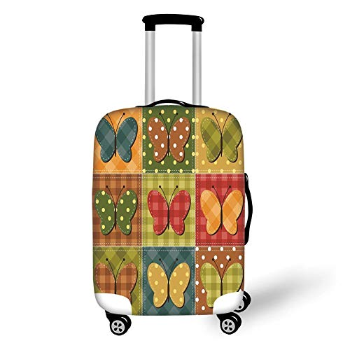 Travel Luggage Cover Suitcase Protector,Cabin Decor,Dotted Checkered Patchwork Image with Lovely Butterflies Sewing Themed Retro Decorative,Multicolor,for TravelXL 29.9x39.7Inch -