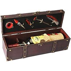 Yobansa Caja de almacenamiento de madera antigua del pecho, caja de la botella de vino con el sistema del accesorio del vino, caja de regalo de madera del vino