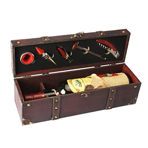 Yobansa Antike Holzkiste Aufbewahrungsbox mit Griff, Weinflaschenbox, Weingeschenkbox aus Holz, Weinverschluss, Weinausgießer, Weinöffner (5set) -