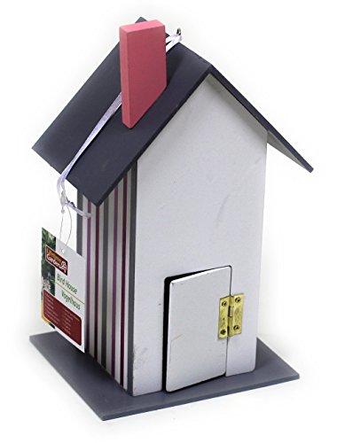 Buntes Vogelfutterhaus aus Holz / Grau / 25 x 12 x 14 cm / Nistkasten - 2