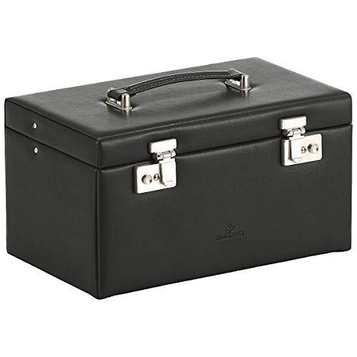 Windrose Merino Schmuckkoffer mit 4 Etagen 30 cm schwarz