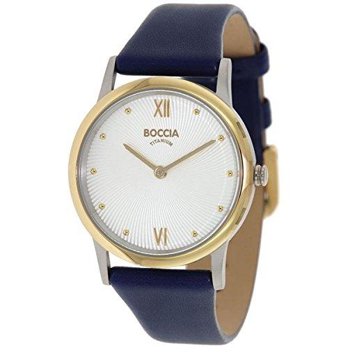 Boccia Damen Analog Quarz Uhr mit Leder Armband 3265-02