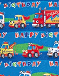 Geschenkpapier für Jungen mit Polizeiauto, LKW, Rettungsfahrzeug, Blau 2 Bögen und 2 Etiketten 2587 (Lkw-wrap)