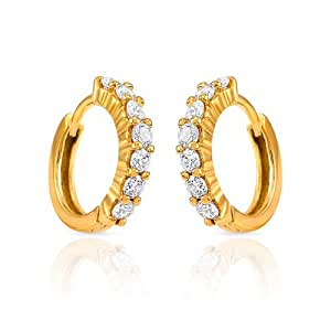 Mahi CZ Collection  Gold Plated CZ Stones Hoop Earrings For Women-ER1102337G