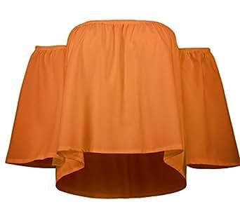 SZIVYSHI Spalle Scoperte Maniche a 3/4 con manica tromba a campana svasate a pieghe Chiffon svasato a trapezioe Blouse Blusa Camicetta Shirt Camicia Top arancione S