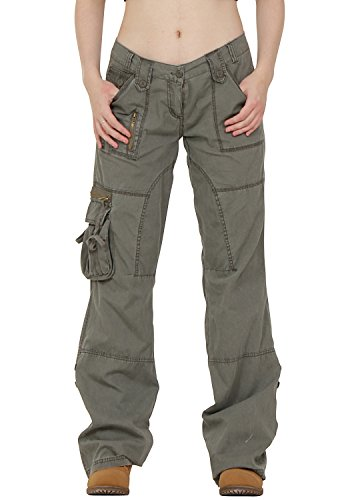 Army-Style-Lightweight-Wide-Leg-Cargo-Combat-Trousers-Green