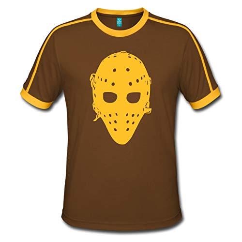 Eishockey Vintage Goaliemaske Ice Hockey Männer Retro-T-Shirt, M, Chocolate/Sun