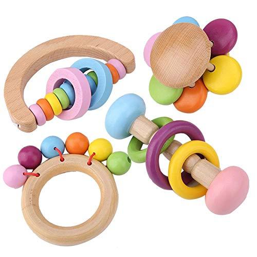 4 STÜCKE Papagei Kauen Spielzeug, Vögel Hängen Holzspielzeug Pet Papageien Spielzeug Set Käfig Sittiche Spielzeug Zubehör für Kleine Nymphensittich Conures Papageien Liebe Vögel -