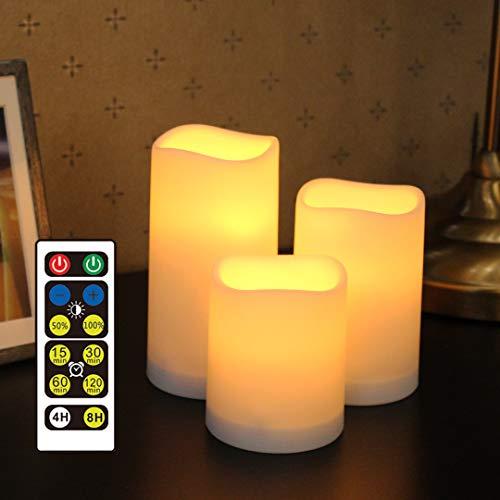 WRalwaysLX Flammenlose Kunststoff-Stumpenkerzen für Außen- und Innenbereich, farbwechselnde LED-Kerzen mit Fernbedienung und Timer, 3 Zähler, verwendet durch 3 AAA-Batterien