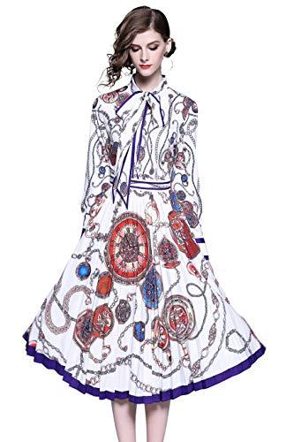 Damen Kragen Midikleider mit Barockmuster & Blumenmuster und Knopfleiste Vorne Swing Casual A-Linie Party Kleid
