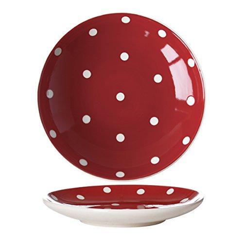 Bruno Evrard Assiette Dessert Rouge à Pois en céramique 22x22cm - Lot de 6 - Kitchen