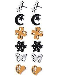 547a3d0a88d7 YAZILIND pendientes de acero inoxidable conjunto hombres mujeres niñas  elegante Stud aretes flor corazón estrella cuadrada