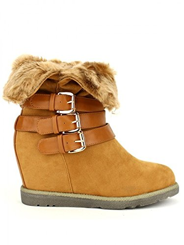 Cendriyon, Bottine camel fourrée COILA Mode Chaussures Femme Caramel