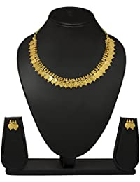 JSD Gold Plated Traditional Wedding Necklace Set For Women And Girls
