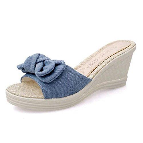 JRenok Damen Sandaletten Damen Espadrilles Sandale Sommer Slip-on High Heel Keil Plattform Sommer Hausschuhe (Stella Wedge Sandal)
