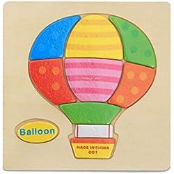 Rompecabezas Forma de Dibujos Animados de Globo Madera Juguete Educativo para Niños Bebé