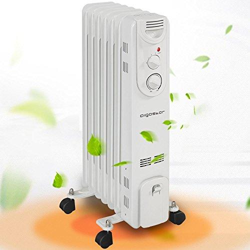 Aigostar Hotwin Slim 33IDA - Radiador de aceite de 1500 watios. 7 elementos. 3 niveles de temperatura y termostato regulador. Diseño Aigostar.