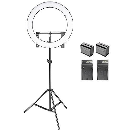 Neewer LED Ringlicht Set: (1)19-Zoll-Außen 14-Zoll-Innen Dimmbares Bi-Farbe SMD LED Ringlicht mit Halterung, (2) Li-Ionen-Akku, (2) Ladegerät, (1) 2 Meter Lichtständer für Portrait Video Fotografie