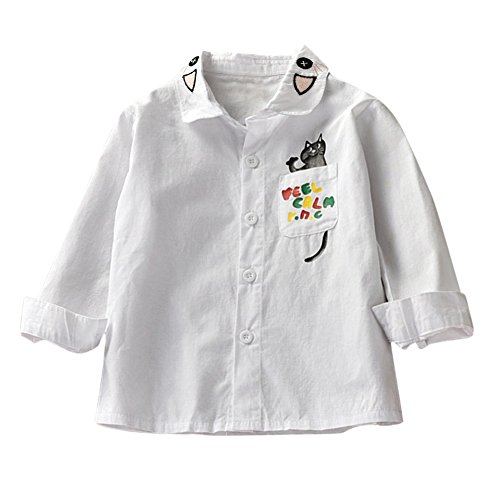 Girl Kid Blouse Baby Girl Long Sleeve Embroide Cartoon Polo Shirt for 1-6 Years Old