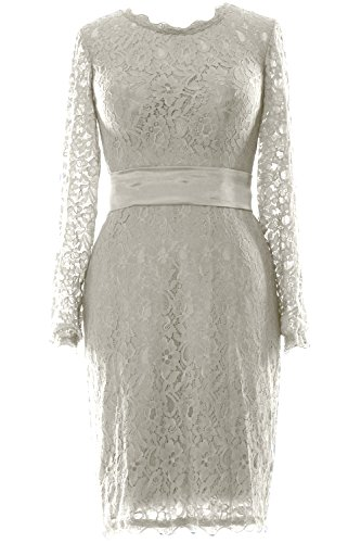 MACloth Women Long Sleeve Lace Short Cocktail Dress Wedding Party Evening Gown Ivoire