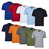 V Neck! 5 oder 10 tolle farbige Herren T-Shirt T-Shirts in 100% Baumwolle Markenware Shirts T-Shirts für den Herren, Man, Men V Ausschnitt