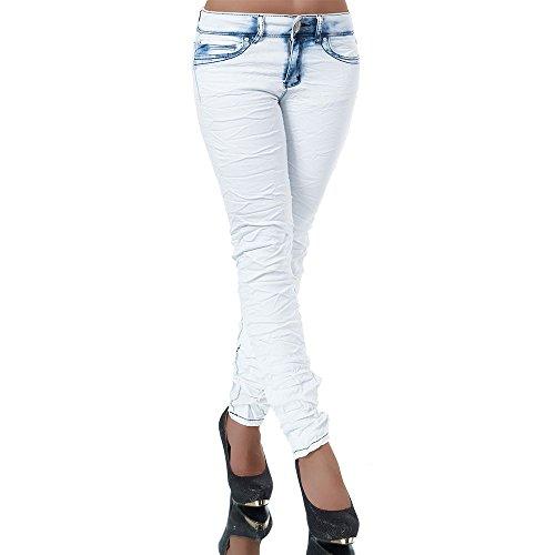 H728 Damen Jeans Hose Damenjeans Röhrenjeans Röhrenhose Röhre Skinny High Waist Blau