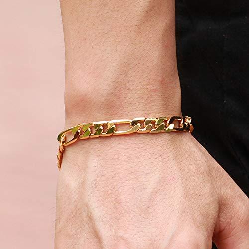 Imagen de topdo 1 pieza moda pulseras con personalidad en color oro pulsera delicado de la joyería regalo para mujeres hombre niñas 22cm alternativa