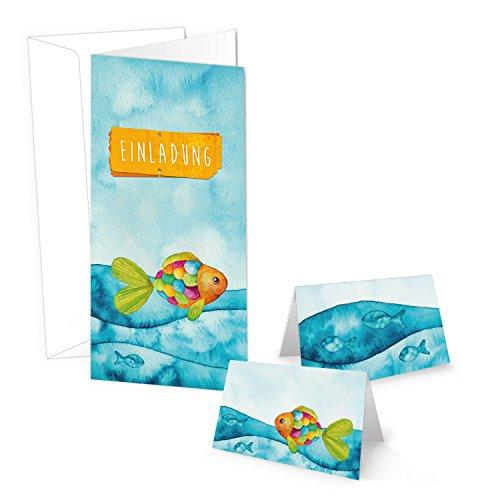 SET mit 10 Einladungskarten + 25 Tischkarten bunter Regenbogen Fisch zur Taufe Kommunion Firmung Kindergeburtstag Geburtstag maritim MIT KUVERT in blau pink grün orange gelb