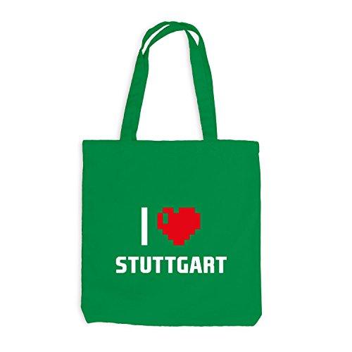 Sacchetto juta–I Love Stuttgart–Germania viaggio cuore Heart Pixel Kellygrün