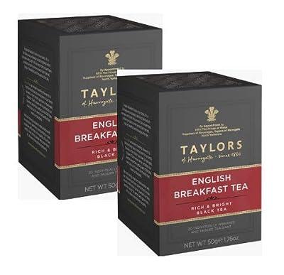 Thé noir de Taylors Thé noir riche et lumineux/Té Nero - 2 x 20 sachets de thé emballés individuellement et marqués (100 grammes)