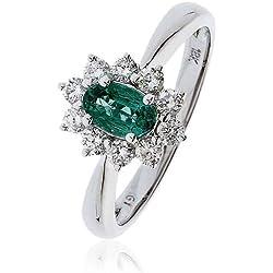 0, 75CT certificado/G VS2 esmeralda en forma de Oval con centro de corte brillante Redondo anillo de diamantes de Halo en forma de óvalo 18 K oro blanco