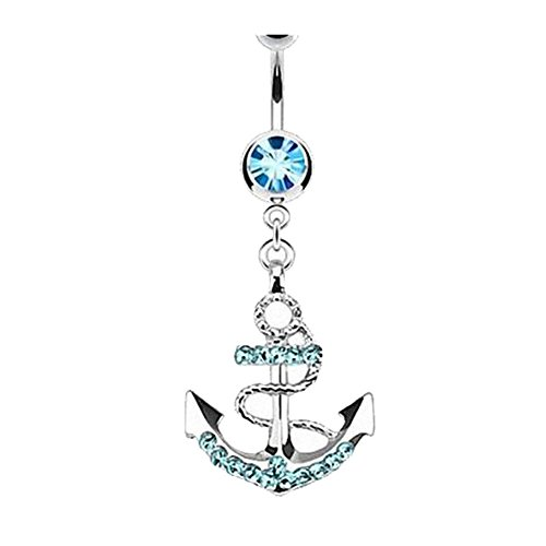 Qinlee Bauchnabel piercing Schmuck Kristall mit Seefahrt Anker Anhänger Frauen Mädchen Anker mit Diamant Nabel Ring (Blau) - Anker Bauchnabel-ringe